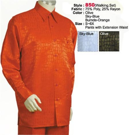 SKU#TC632 2PC Set Casual Suit in Orange or Light Blue ~ Sky Blue or Olive including Matching Wide Leg Dress Pants $125