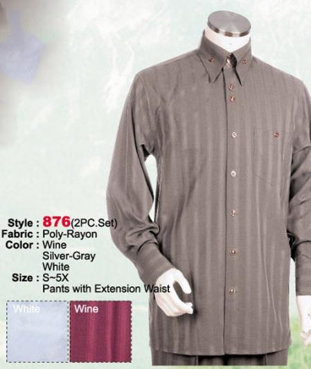 SKU#HD548 2PC Set Casual Suit in Silver-Gray or Wine or White including Matching Wide Leg Dress Pants $125