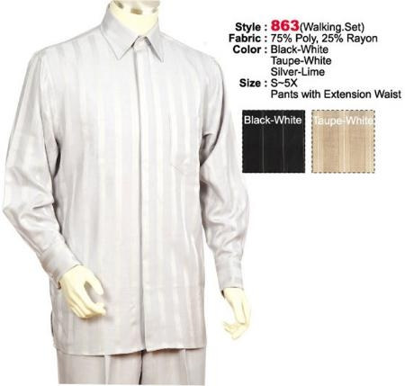 MensUSA.com 2PC Set Casual Suit in Silver Lime or Black White or Taupe White including Matching Wide Leg Dress Pants(Exchange only policy) at Sears.com