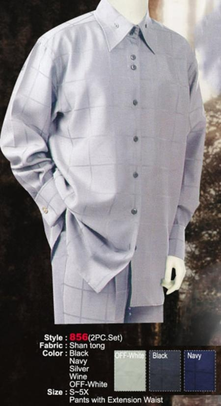 SKU#DK432 2PC Set Casual Suit in Silver or Black or Navy or Wine or Off-White $69