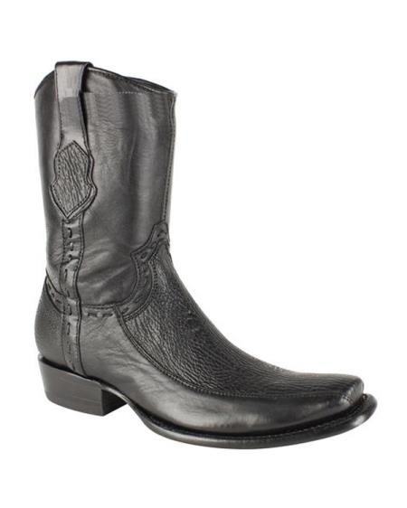 Mens King Exotic Cowboy Style By los altos botas For Sale Genuine Sharkskin Black Dubai Toe With Inside Zipper Handcrafted Dress Cowboy Boot Cheap Priced For Sale Online