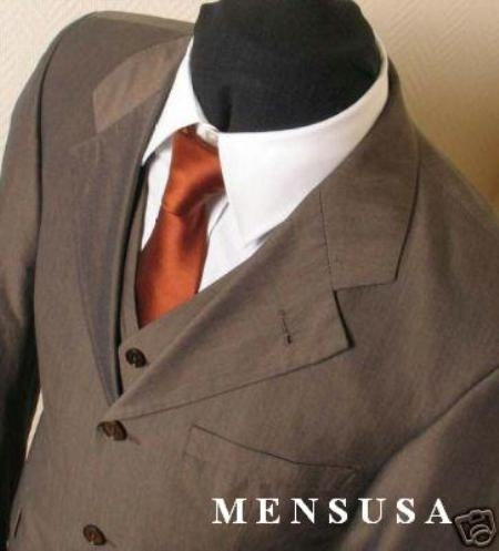 SKU# Sharkskin MU33 Chocolate Brown Super 100s Wool Vested 3 Pieaces Mens Suits $165