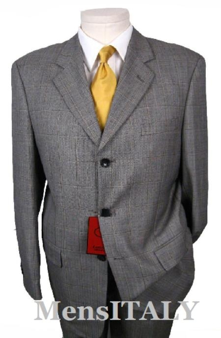 SKU# VCE365 Sharkskin Texturized Black & White (Grey) Herringbone Weave Pattern Window Plad 3 Buttons Fi