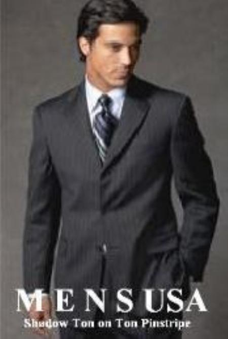 SKU# MUZ770 Sharp Black & Black Shadow Pinstripe Super 140's Wool Feel Touch Poly Rayon 3 buttons Men&#39s Suits
