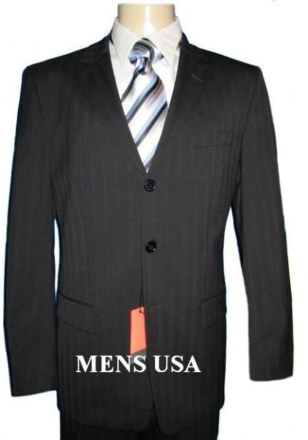 SKU# AQ649 Sharp Jet Black & Black Shadow Pinstripe (Famous Ton on Ton) $299