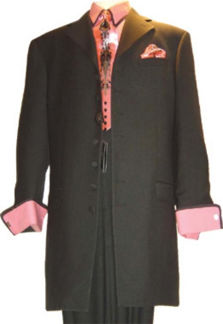 SKU# VTG139 Sharp Black Fashion Mens Suit 5 Buttons Dress Suits $139