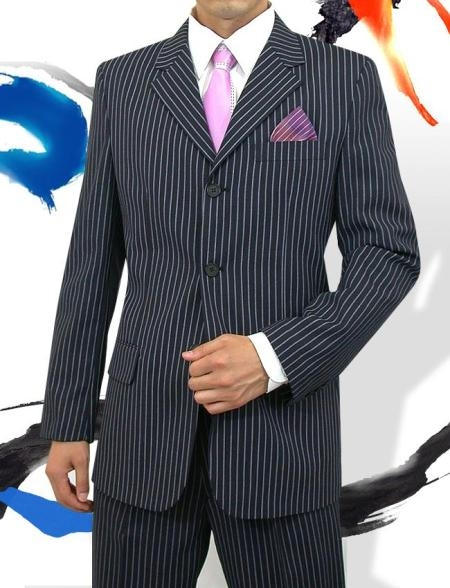 SKU#PWAC3 Sharp Mens 3 Button Style Navy Pinstripe Light Weight On Sale