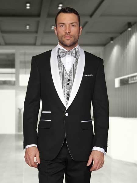 Mens Black Statement Suits Clothing Confidence White Shawl Lapel Modern Fit 3 Piece Evening Suits Capri