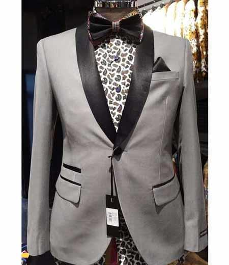 Cheap Priced Blazer Jacket For Men Online Silver Slim Fit Two Toned Black Lapel Shawl Collar Dinner Jacket Looking!