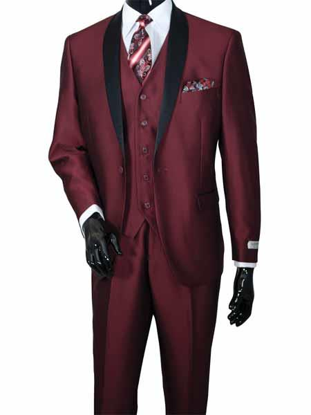 Mens 2 Piece No Vest Two Toned Shawl Lapel Vested Burgundy ~ Wine ~ Maroon Color Sharkskin Shiny Black Lapel Suit