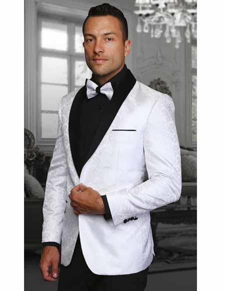 Men's White Two Toned Paisley Shawl Lapel Entertainer Singer Blazer Jacket