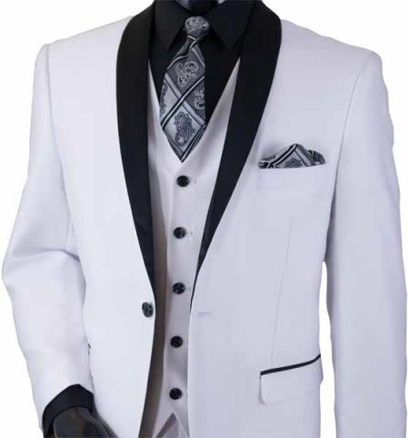 Men's White 3 Piece Shawl Lapel Two Toned Sharkskin Shiny Black Lapel Vested Suit