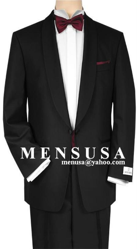 SKU# MU23 Shawl Collar One Button Super 150s Wool Suit $199
