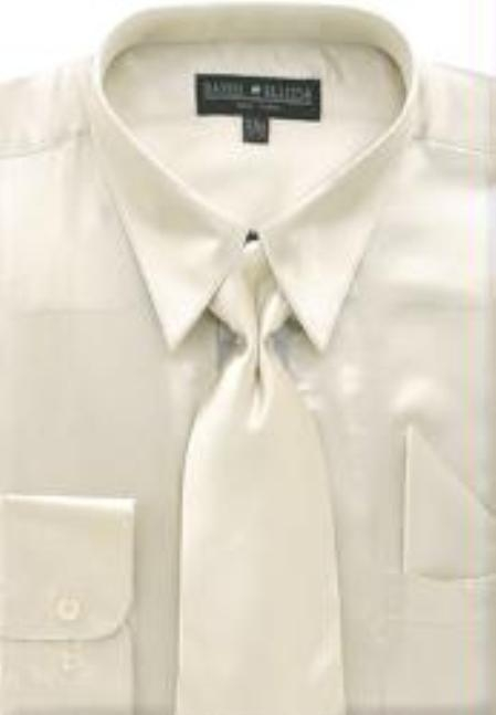 Men's Beige Shiny Silky Satin Dress Shirt/Tie