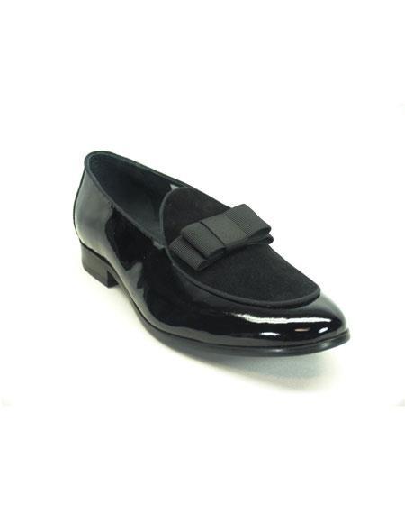 Carrucci Shiny Slip On Formal Black Dress