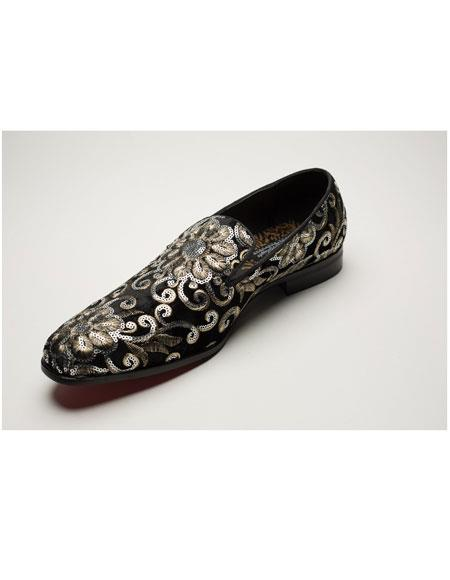 Mens Shiny Fashionable Slip On Black Floral Pattern Gold Dress Glitter ~ Sparkly Shoes Sequin Shiny Flashy Look