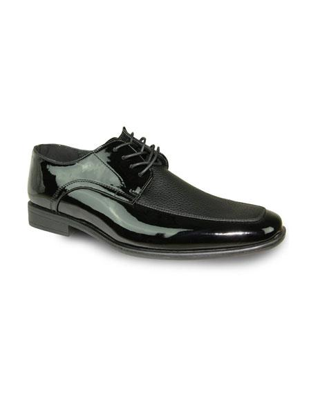 Mens Shiny Tuxedo Black Lace Up Textured Pattern Shoes