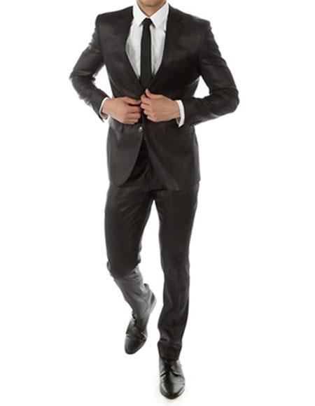 Mens Shiny Black Slim Fit 2 Button Notch Lapel Suit