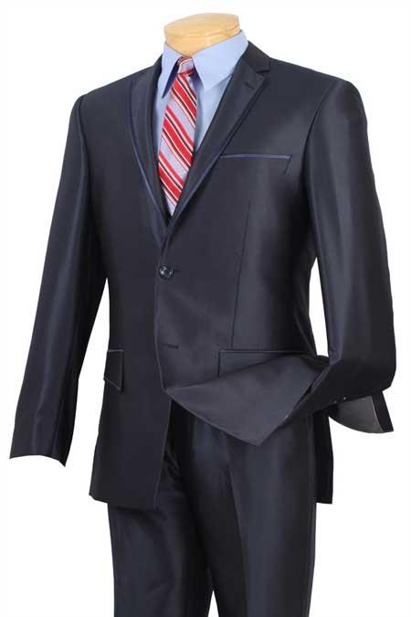 Tuxedo & Formal Shiny Blue Trimmed Slim Fit Suits Fitted Style Dark Navy