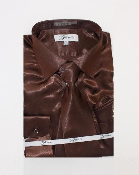 FerSH1 Mens Shiny Luxurious Shirt Dark Brown