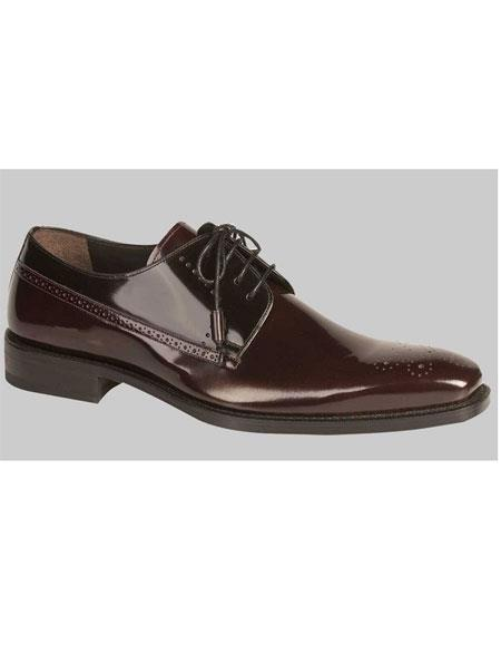 Buy GD512 Men's Lace Shiny Burgundy ~ Wine ~ Maroon Color Black Oxford Shoes Authentic Mezlan Brand