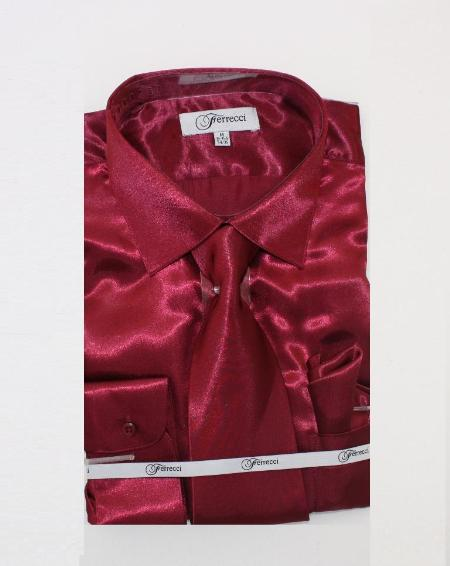 FerSH1 Mens Shiny Luxurious Shirt Burgundy ~ Maroon ~ Wine Color