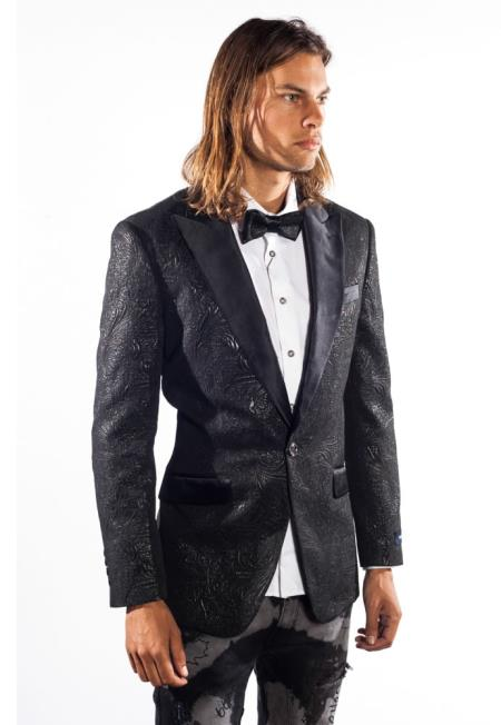 Mens Fashion Shiny 1 Button Sequin Flashy Paisley Jacket Blazer ~ Sport Coat Tuxedo Charcoal