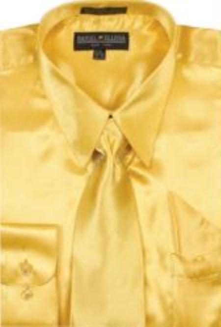 Men's Gold Shiny Silky Satin Dress Shirt/Tie