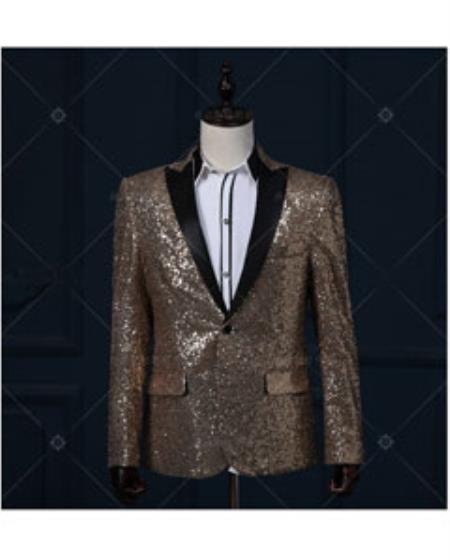 Gold / Yellow & Black Real Sequin With Black Peak Lapel Tuxedo Dinner Jacket Blazer Shin