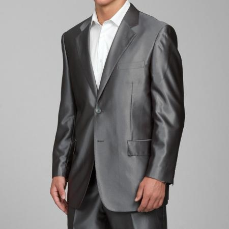Mens Shiny Grey 2-button Mens Sharkskin Suit