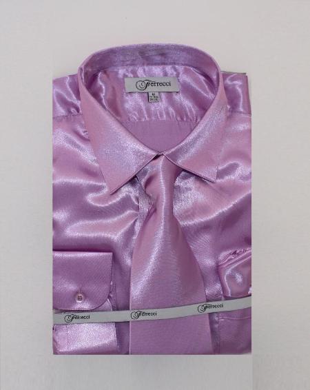 FerSH1 Men's Shiny Luxurious Shirt Lavender