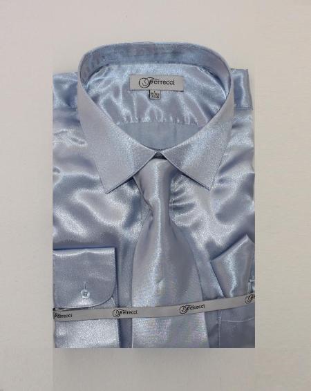 FerSH1 Men's Shiny Luxurious Shirt Light Blue ~ Sky Blue