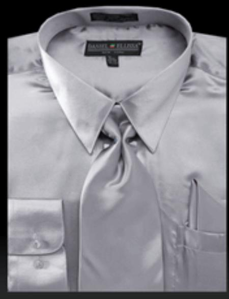 Mens Light Gray Shiny Satin Tie Set Mens Dress Shirt