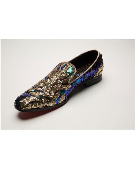 Slip On Multi Color ~ Brown ~ Gold Dress Shoes