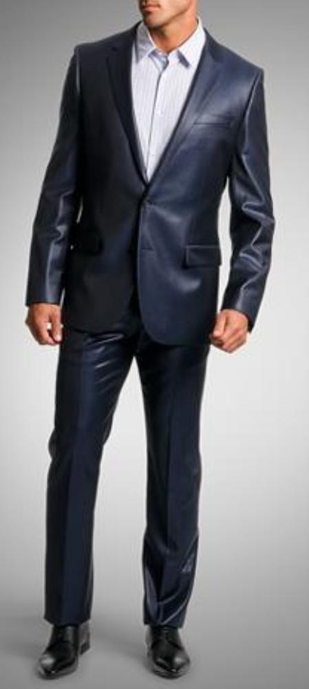 SKU#VF2008 Shiny sharkskin Single Breasted Mens Suit Side-Vented Navy Blue
