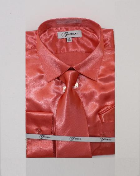 FerSH1 Mens Shiny Luxurious Shirt Salmon ~ Coral ~ Melon ~ Peachish Pinkish Color