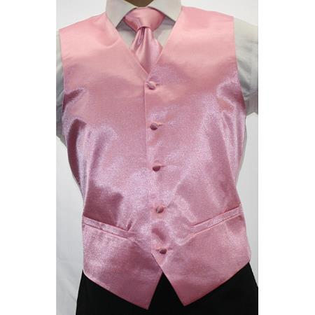 Mens Shiny Pink Microfiber 3-Piece Vest Also available in Big and Tall Sizes