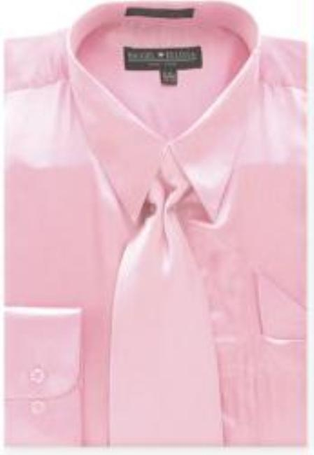 Men's Pink Shiny Silky Satin Dress Shirt/Tie