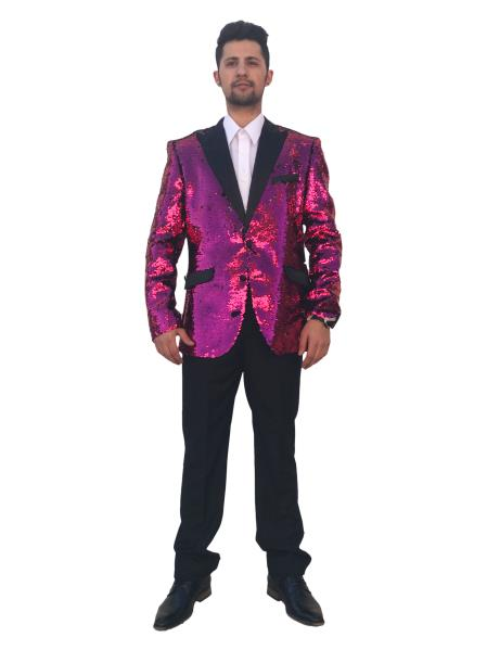 Mens Shiny 2 Button Pink Single Breasted Sequin Fashion Dinner Blazer