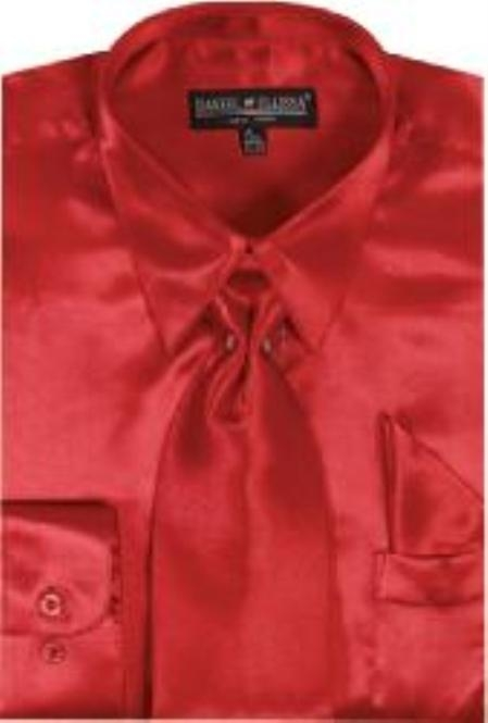 Men's Red Shiny Silky Satin Dress Shirt/Tie