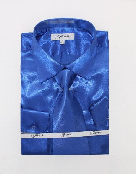 FerSH1 Mens Shiny Luxurious Shirt Royal Blue