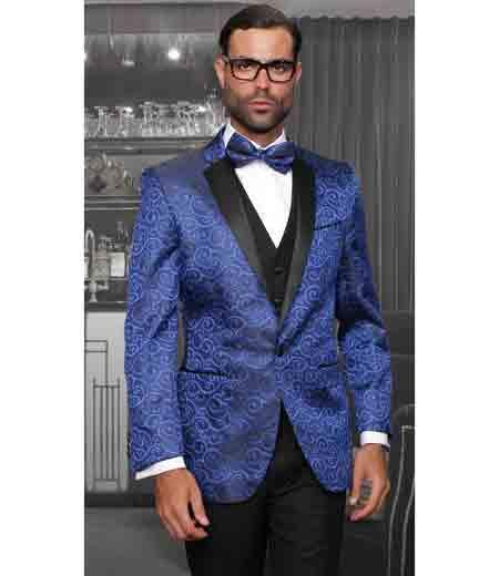 SKU#SM1150 Mens Statement Shiny Royal Blue 3 Piece Tuxedo Entertainer Modern Fit Bellagio Suits