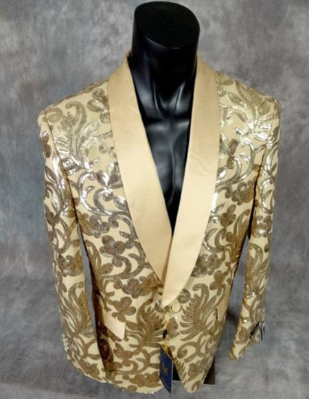 mens shiny sequin fancy floral designed gold party Blazer Advanced Pre Order To Ship November / 15 / 2019