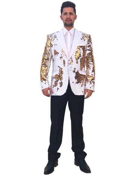 Men's Shiny Sequin 2 Button Cheap Priced Designer Fashion Dress Casual Blazer For Men On Sale Gold ~ White Blazer ~ Sport Coat