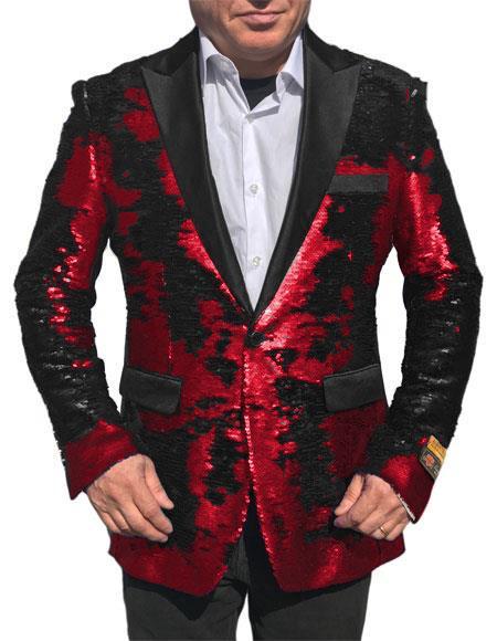 Fashion Alberto Nardoni Shiny Sequin Red Tuxedo Black Lapel