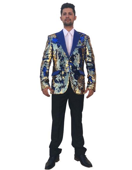Mens Shiny Sequin Cheap Priced Designer Fashion Dress Casual Blazer For Men On Sale Royal Blue ~ Gold 2 Button Blazer ~ Sport Coat