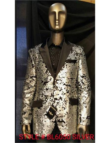 Men's Fashion Shiny Sequin Silver Paisley Blazer Sport coat Tuxedo Jacket