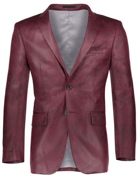 Mens Shiny Solid Pattern Slim Fit 2 Button Burgundy ~ Wine ~ Maroon Color Cheap Priced Designer Fashion Dress Casual Blazer For Men On Sale Blazer