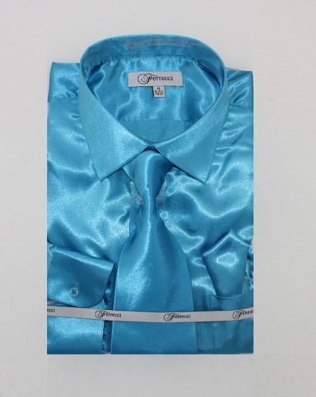 Shiny Luxurious Shirt turquoise