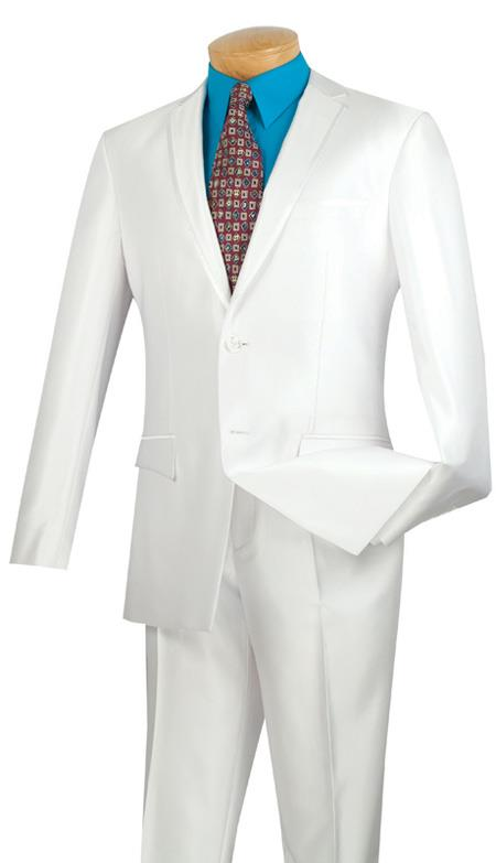 Tuxedo & Formal Shiny White Trimmed Slim Fit Suits Fitted Style